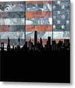 New York Skyline Usa Flag 5 Metal Print