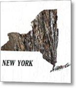 New York State Map Metal Print