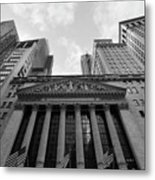 New York Stock Exchange Black And White Metal Print