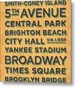 New York Train Stations Retro Vintage - Black On Yellow Metal Print