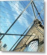 New York Usa  Brooklyn Bridge Towards Manhattan. Metal Print