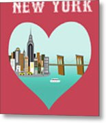 New York Vertical Skyline - Heart Metal Print