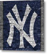 New York Yankees Brick Wall Metal Print