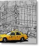 New York Yellow Cab Metal Print
