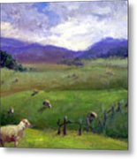New Zealand Sheep Farm Metal Print