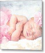 Newborn Girl Asleep In A Tutu Metal Print