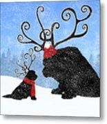 Newfie Reindeer Metal Print