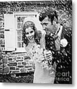 Newlyweds Showered With Rice, C.1960-70s Metal Print