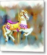 Newport Beach Carousel Horse Metal Print
