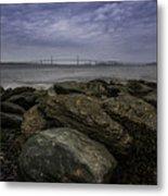 Newport Bridge Under Dramatic Sky Metal Print