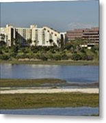 Newport Estuary Looking Across At Major Hotel And Businesses Metal Print