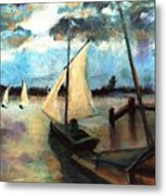 Newport Moonlight Sail Metal Print