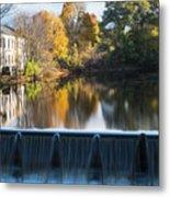 Newton Upper Falls Autumn Waterfall Reflection Metal Print