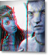 Neytiri And Jake Sully - Use Red-cyan 3d Glasses Metal Print