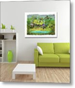 Home Decor With Tropical Palms Digital Painting Metal Print