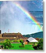 Niagara Falls And Welcome Centre With Rainbow Metal Print