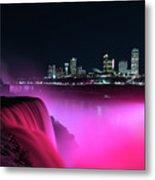 Niagara Falls At Night - Pink Metal Print
