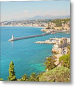 Nice Coastline And Harbour, France Metal Print