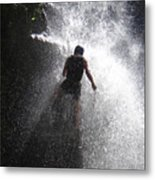 Nick Dale Abseiling Down A Kenyan Waterfall Metal Print