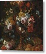 Nicolaes Van Veerendael Antwerp 1640 - 1691 Still Life Of Roses, Carnations And Other Flowers Metal Print