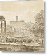 Nicolas-didier Boguet   1755 - 1839   View Of The Roman Forum With The Temple Of Castor Metal Print