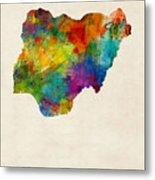 Nigeria Watercolor Map Metal Print