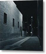 Night Alley To Main Street Metal Print