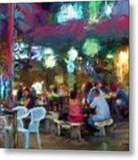 Night At The Cafe Metal Print