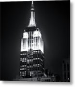 Night At The Empire State Building Metal Print
