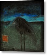 Night Bird With Red Square Metal Print