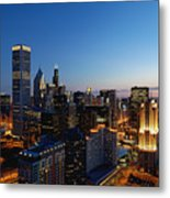 Night Falls On Chicago - D001087 Metal Print