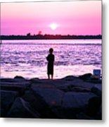 Night Fishing On Long Beach Island Metal Print