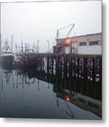 Night Fog Along The Dock Metal Print