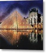 Night Glow Of The Louvre Museum In Paris Metal Print