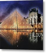 Night Glow Of The Louvre Museum In Paris  Text Louvre Metal Print