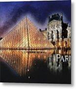 Night Glow Of The Louvre Museum In Paris Text Paris Metal Print