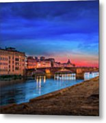 Night In Florence Italy Metal Print