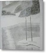 Night Lake.black Pencil 1990 Metal Print