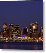 Night Lights Of Downtown Vancouver Metal Print