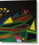 Night On The Green Fractures And Lights Metal Print