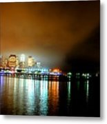 Night Reflections Hudson River Ny Nj Metal Print