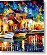 Night Riverfront - Palette Knife Oil Painting On Canvas By Leonid Afremov Metal Print
