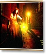 Night Search No. 20 L A With Decorative Ornate Printed Frame. Metal Print