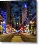 Night Shot Of Broad Street - Philadelphia Metal Print