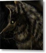 Night Silent Wolf Metal Print