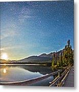 Night Sky Panorama Of Pyramid Lake Metal Print
