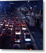 Night Skyline Of Jakarta Indonesia 2 Metal Print