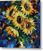 Night Sunflowers Metal Print