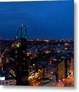 Night Tallinn City Line Panorama Metal Print