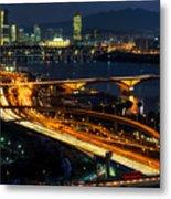 Night Traffic Over Han River In Seoul Metal Print